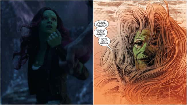 12. This is eerily similar to Gamora's original death in Marvel Comics: She became disillusioned with her adopted father Thanos, tried to knife him in vain, and was eventually killed by the Mad Titan. Adam Warlock placed Gamora's soul in a Soul Gem, where it later joined hers.