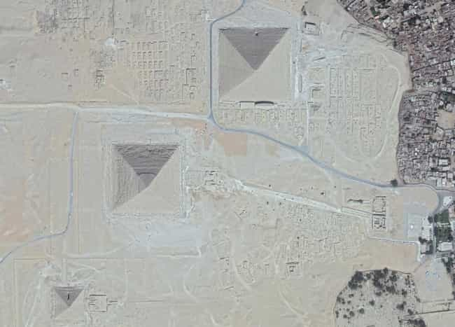 Great Pyramid of Giza is listed (or ranked) 2 on the list Amazing Google Satellite Images Of Famous Places Around The World