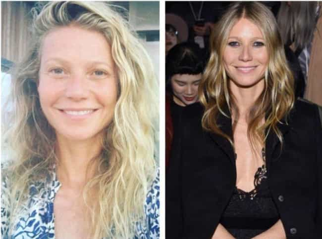 Gwyneth Paltrow is listed (or ranked) 1 on the list 24 Photos Of Celebrities With And Without Their Makeup
