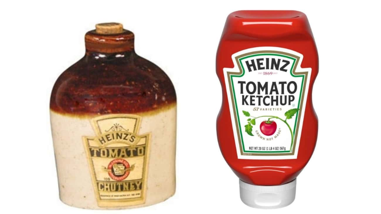 Heinz Ketchup  is listed (or ranked) 2 on the list Here's What Processed Food Packaging Used To Look Like