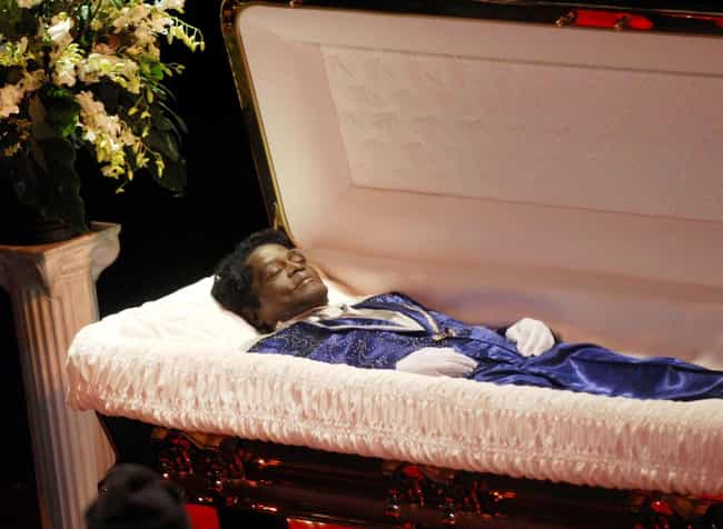 James Brown is listed (or ranked) 3 on the list 30 Photos From Celebrity Open Casket Funerals