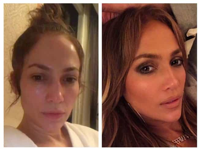 24 photos of celebrities with and without their makeup