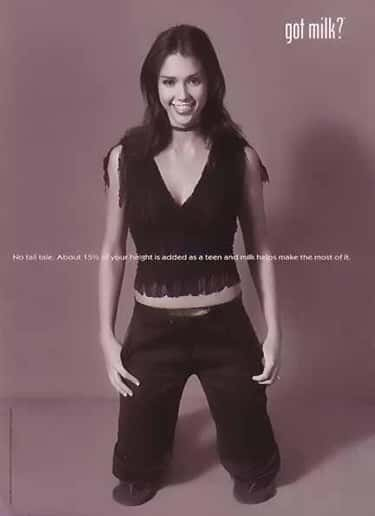 Jessica Alba - 2002 is listed (or ranked) 1 on the list 100+ Celebrities in Got Milk Ads