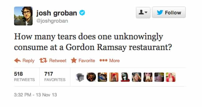 Josh Groban is listed (or ranked) 3 on the list The Funniest Celebrity Tweets of 2013