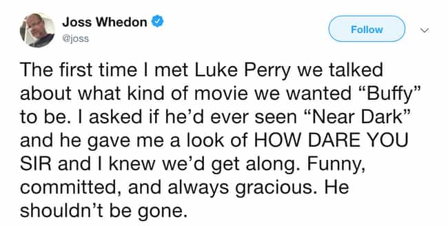 Joss Whedon is listed (or ranked) 3 on the list Celebrities React To Luke Perry's Death