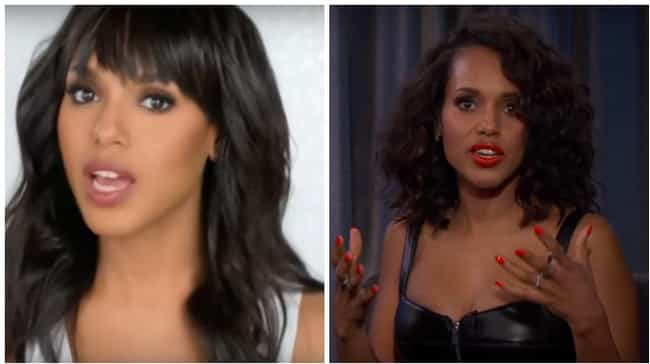 Kerry Washington is listed (or ranked) 8 on the list Here's What 25 Celebrities Who Usually Have Bangs Look Like Without Them