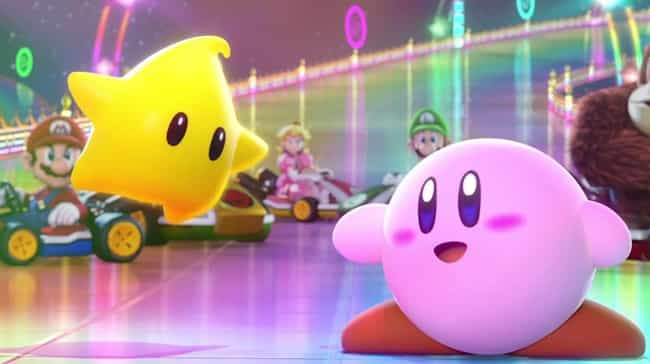 Kirby is listed (or ranked) 3 on the list 15 Video Game Character Designs With Strange And Hilarious Origin Stories