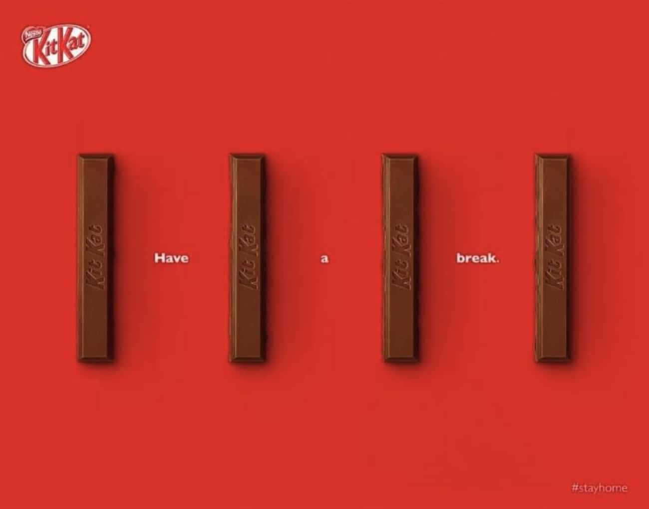 Kit Kat is listed (or ranked) 2 on the list 18 Companies That Rolled Out Brilliantly Clever Social Distancing Ads