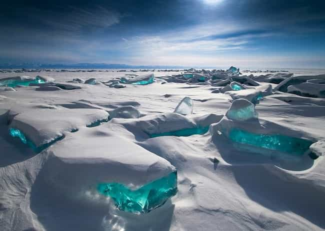 Lake Baikal is listed (or ranked) 2 on the list Real Landscapes That Look Like They're From Another Planet