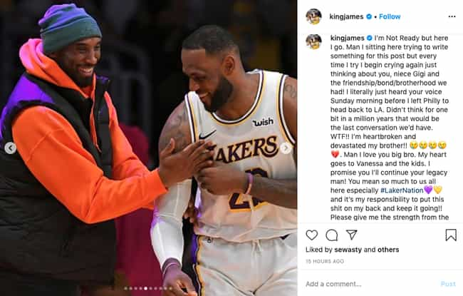 LeBron James is listed (or ranked) 1 on the list Heartbroken Athletes React To Kobe Bryant's Death
