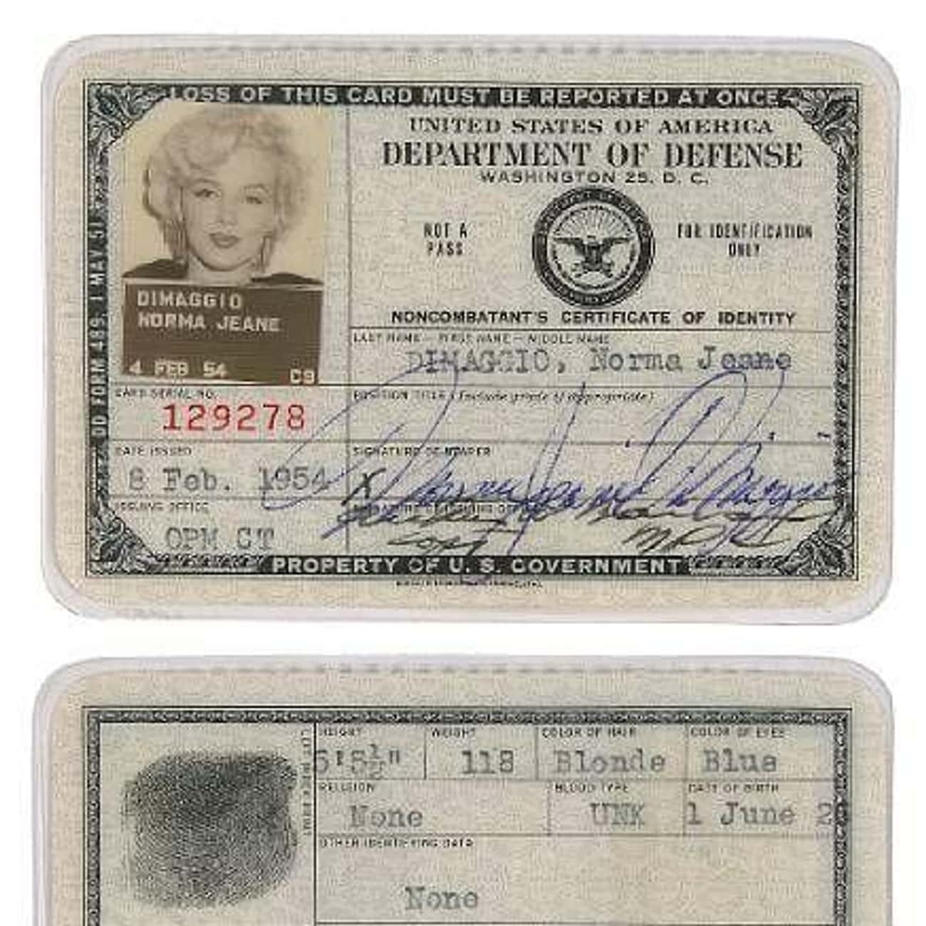 Marilyn Monroe is listed (or ranked) 4 on the list Celebrity Passport Photos
