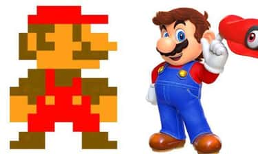 Mario is listed (or ranked) 1 on the list The Evolution Of Your Favorite Video Game Characters Over Time