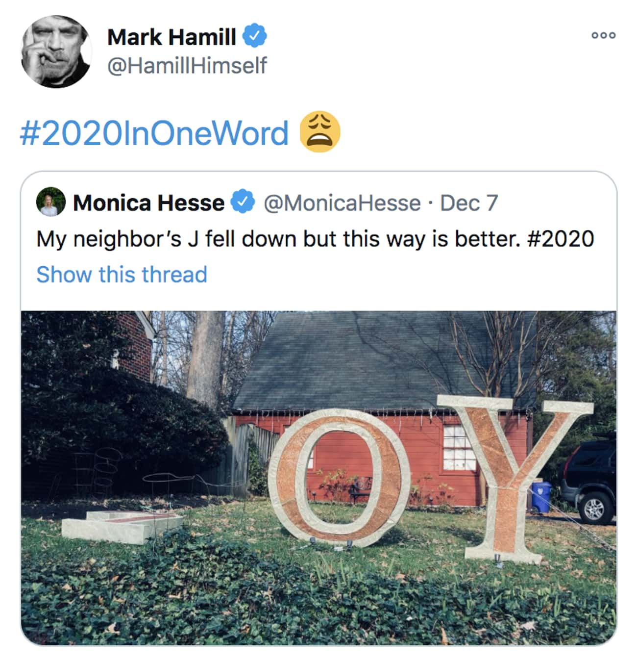 Mark Hamill Sums Up 2020 As 'Joy' With A Silent J