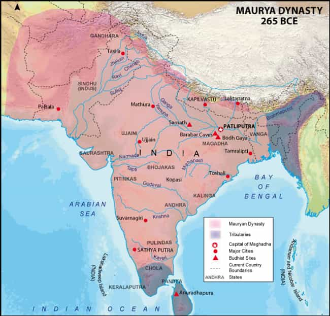 Maurya Empire is listed (or ranked) 1 on the list The Top 10 Greatest Empires of India