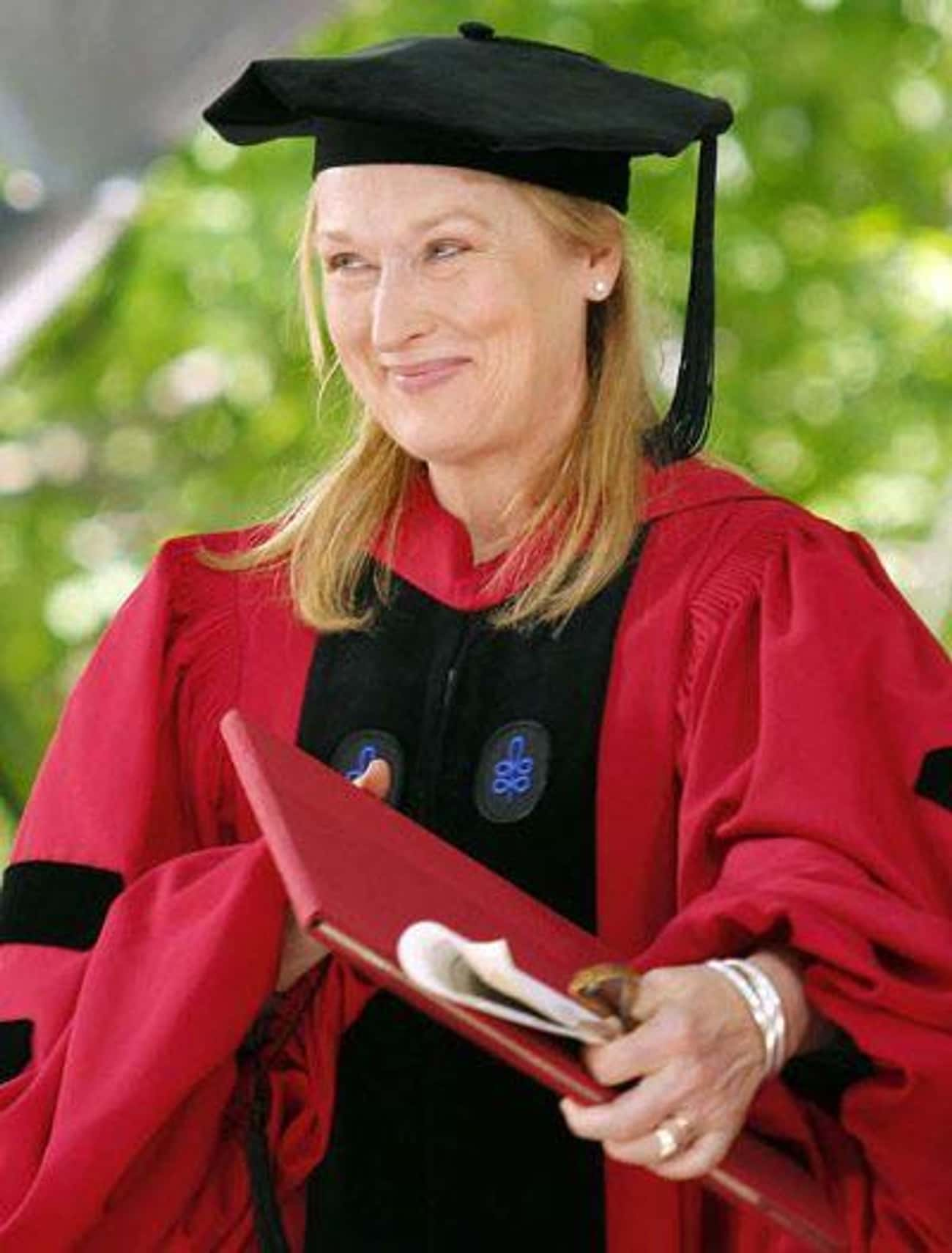 Meryl Streep is listed (or ranked) 3 on the list 53 Celebrities with Honorary Degrees from Harvard