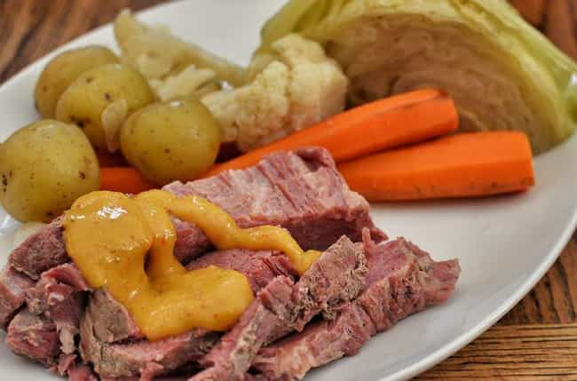 Corned Beef and cabbage is listed (or ranked) 2 on the list Foods That Are Totally Different In The United States