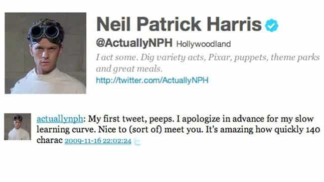 Neil Patrick Harris is listed (or ranked) 1 on the list The Very First Tweets From TV Stars