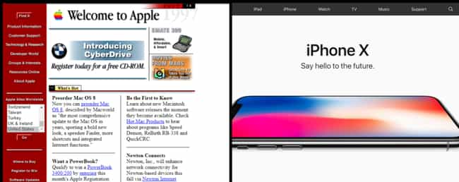 Apple is listed (or ranked) 1 on the list Here's How History's Biggest Websites Evolved Over The Last Decade