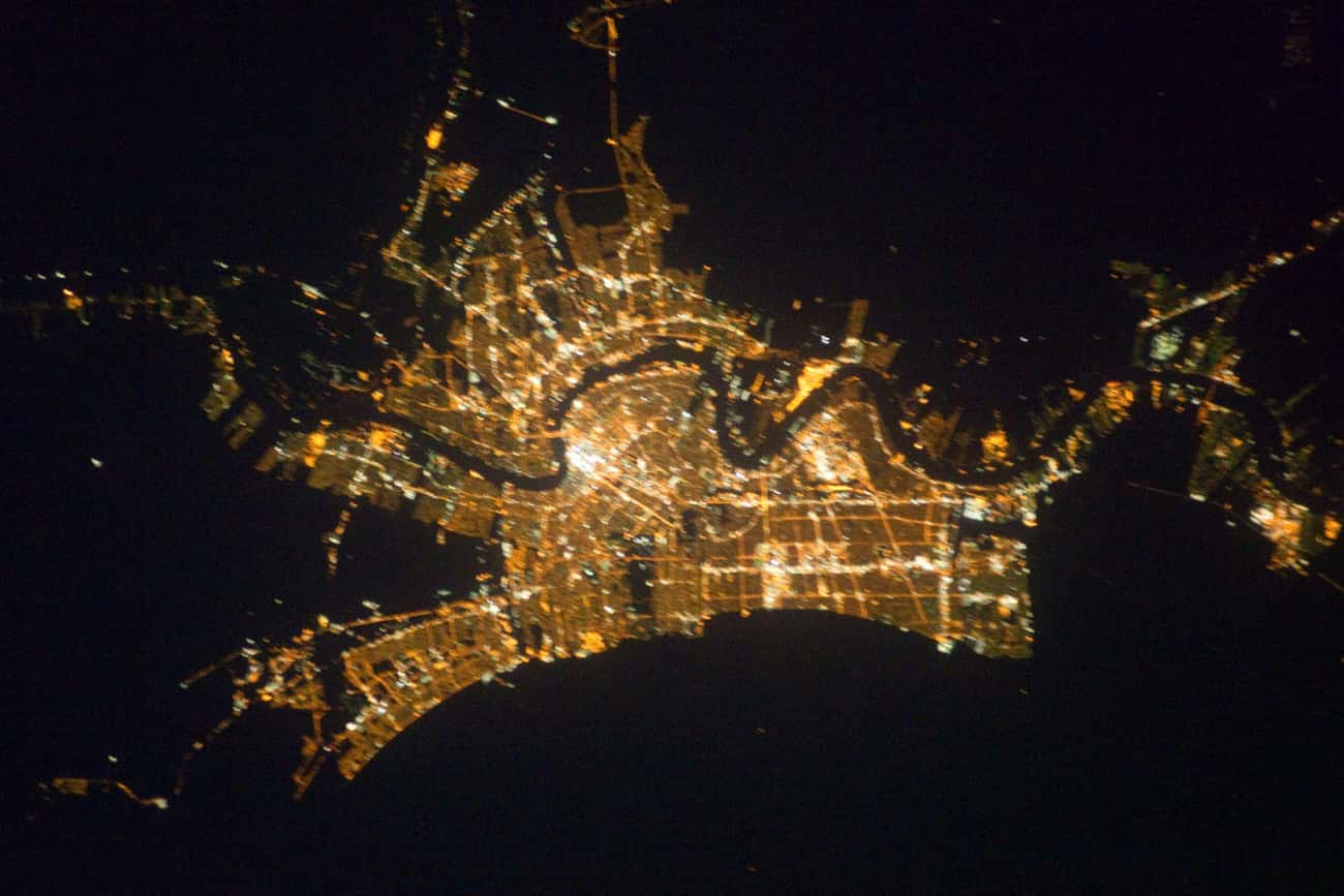New Orleans, Jazzing Up the Gu is listed (or ranked) 2 on the list Cool Aerial Photos of Cities at Night