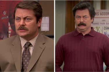Nick Offerman (Ron Swanson) is listed (or ranked) 2 on the list How the Cast of Parks & Rec Aged from the First to Last Season