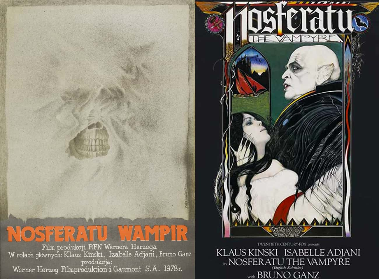 Nosferatu the Vampyre is listed (or ranked) 1 on the list Wonderfully Weird Polish Horror Movie Posters Vs. Their American Counterparts