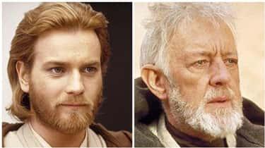 Ewan McGregor And Alec Guiness As Obi-Wan Kenobi In 'Star Wars'