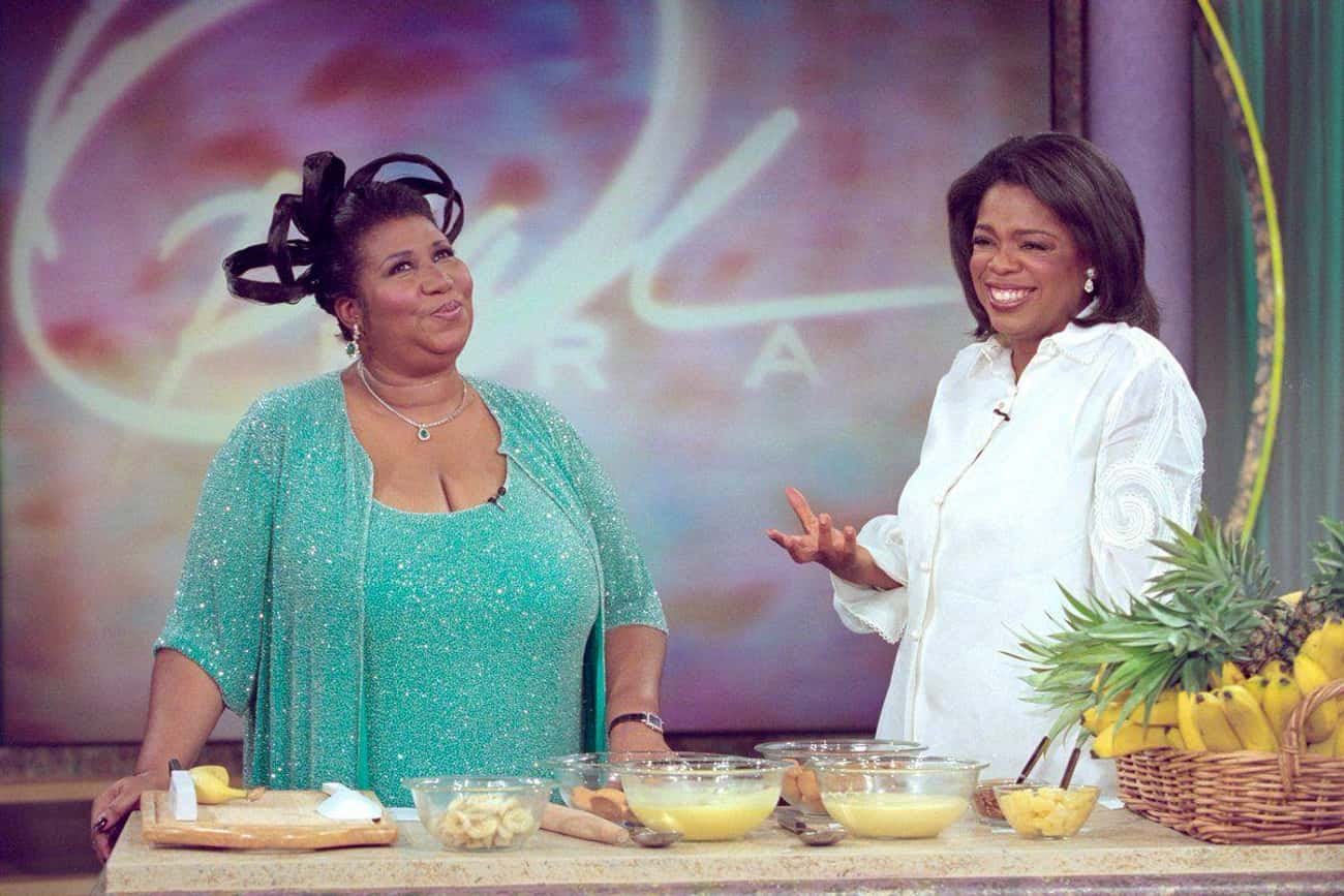 Oprah Winfrey is listed (or ranked) 3 on the list Famous Friends Of Aretha Franklin