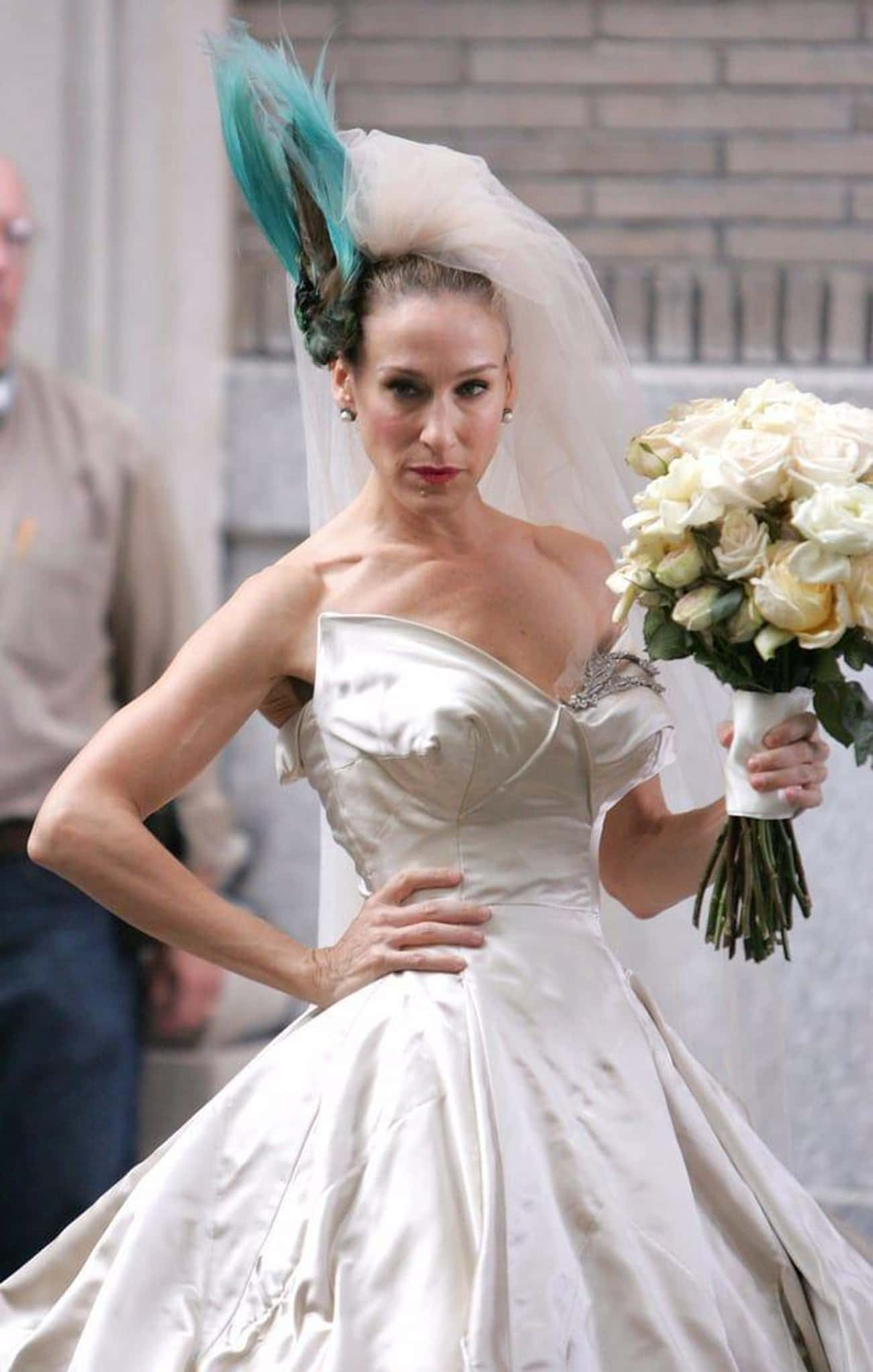 Carrie Bradshaw's Dress In 'Se is listed (or ranked) 4 on the list The Worst Wedding Dresses In Romantic Comedy History