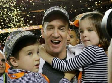 Peyton Manning Celebrates with is listed (or ranked) 5 on the list Adorable Pictures of NFL Players Caught Being Dads
