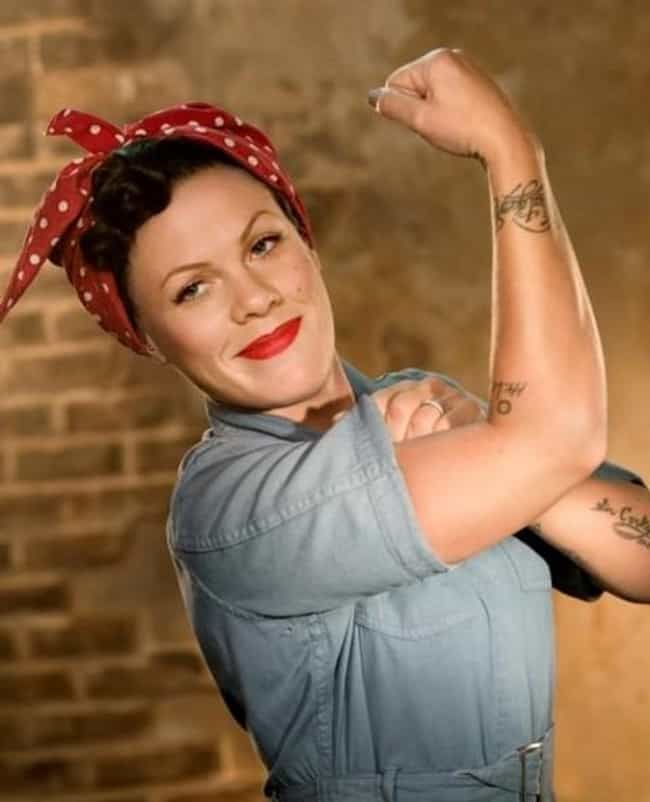 P!nk is listed (or ranked) 1 on the list 16 Celebrities as Rosie the Riveter