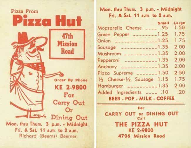 Pizza Hut is listed (or ranked) 4 on the list 18 Utterly Fascinating Vintage Fast Food Menus Throughout History