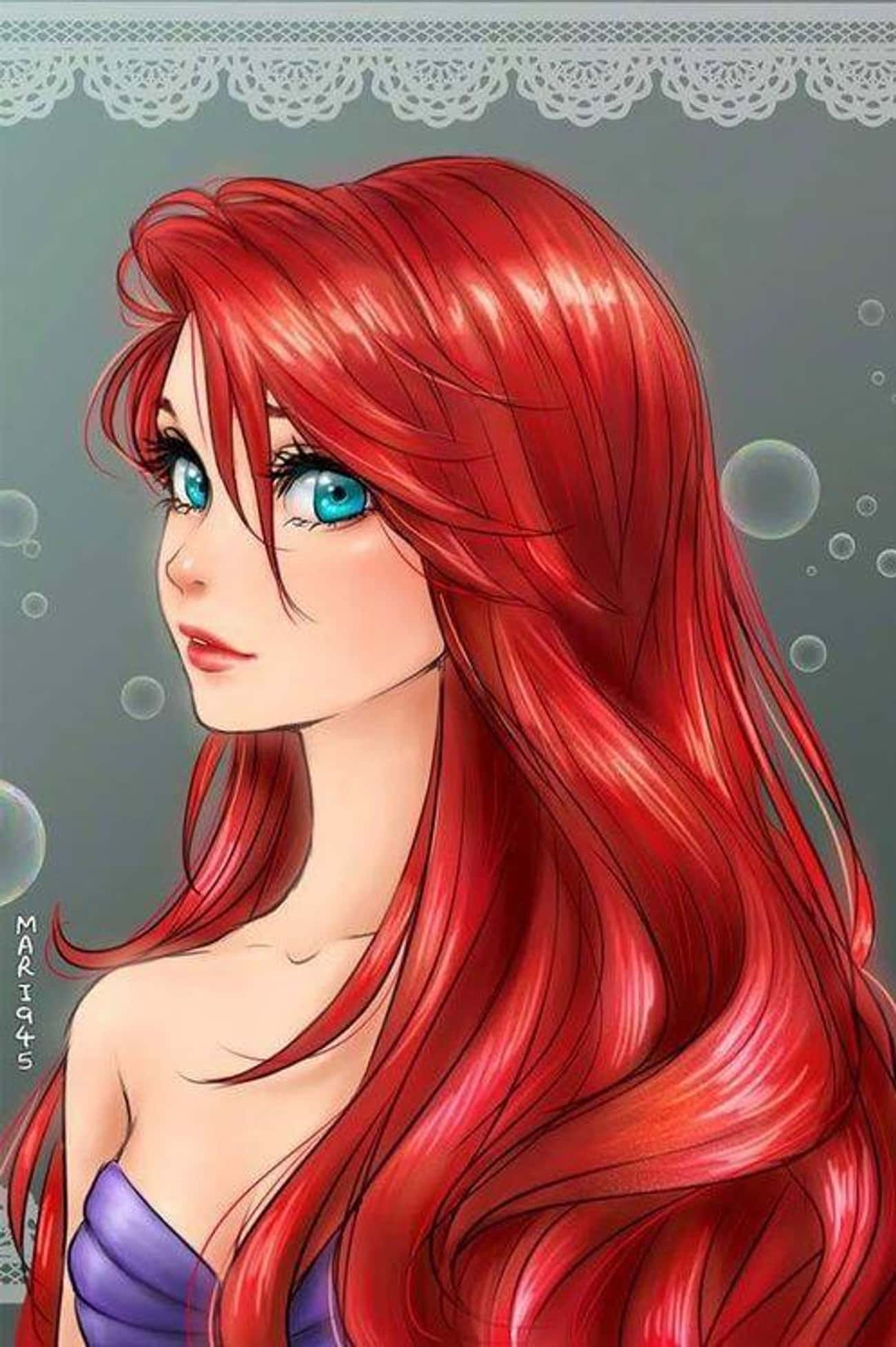 Ariel, The Little Mermaid is listed (or ranked) 1 on the list 15 Disney Princesses Drawn As Anime Characters