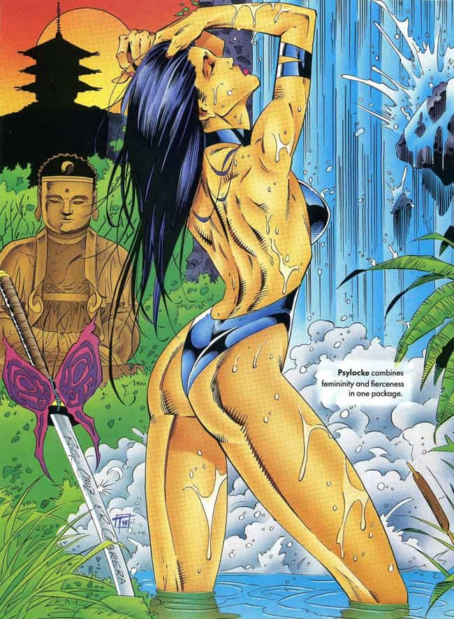 Psylocke is listed (or ranked) 2 on the list In The '90s, Marvel Made Its Own Version Of The 'Sports Illustrated' Swimsuit Edition