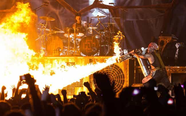 Rammstein is listed (or ranked) 2 on the list Fire Away: The Worst Pyrotechnic Accidents Of All Time
