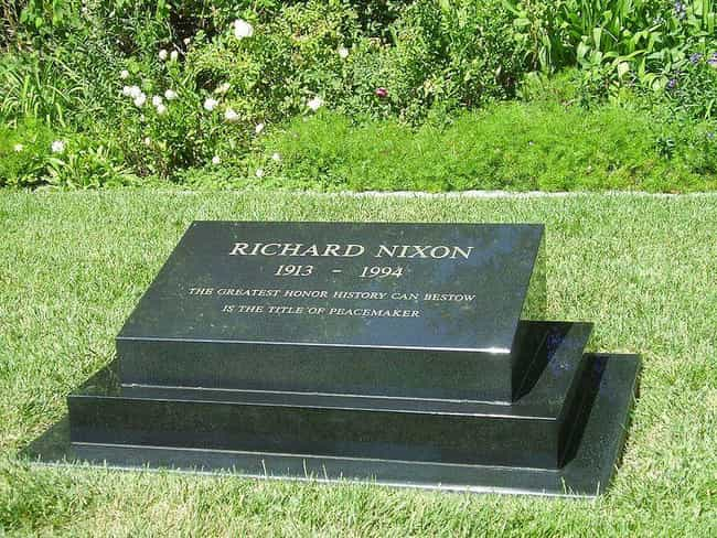 Richard Nixon is listed (or ranked) 4 on the list Where Every US President Is Buried