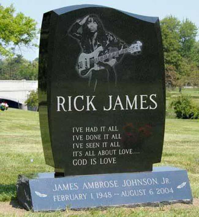 Rick James is listed (or ranked) 4 on the list Rock Stars with the Coolest Tombstones