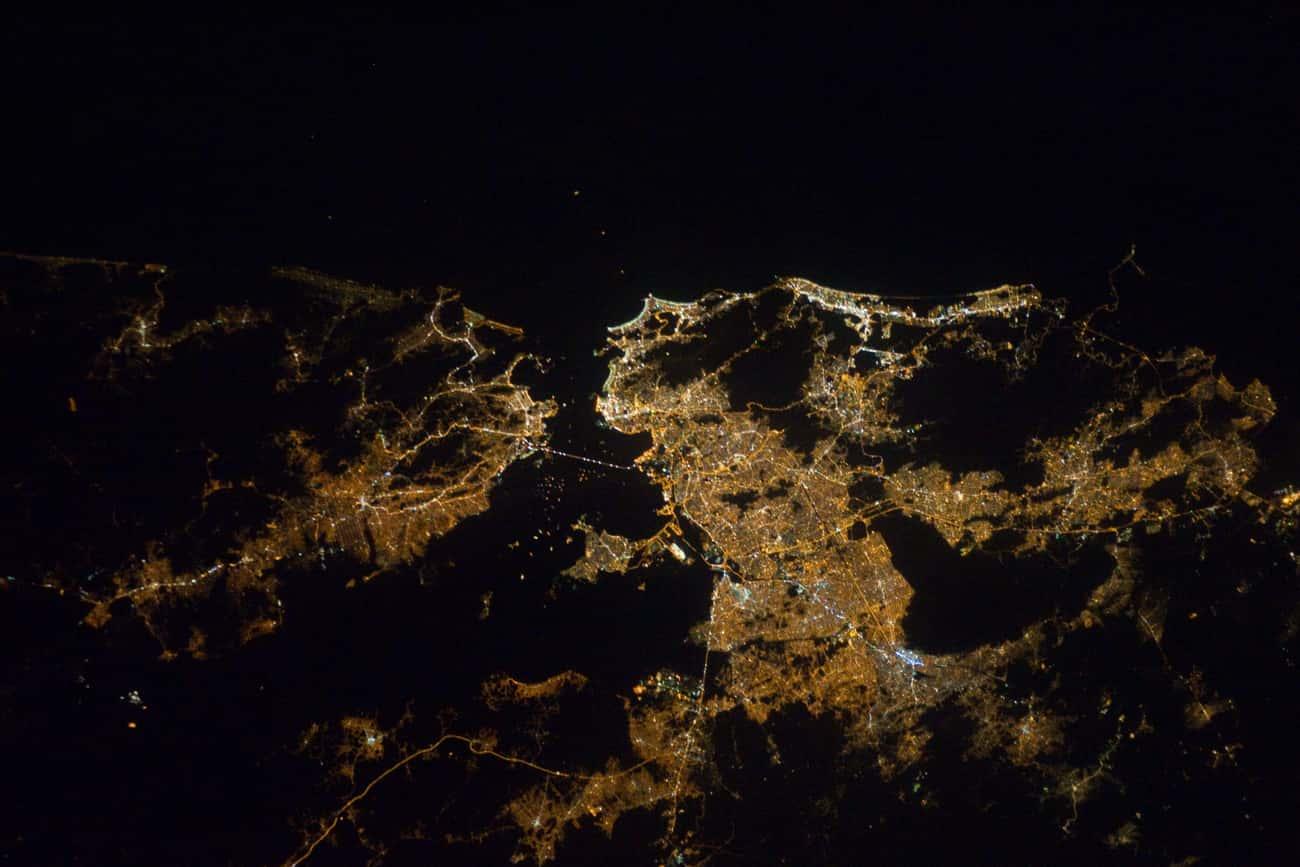 Rio de Janeiro, Shining Like a is listed (or ranked) 3 on the list Cool Aerial Photos of Cities at Night