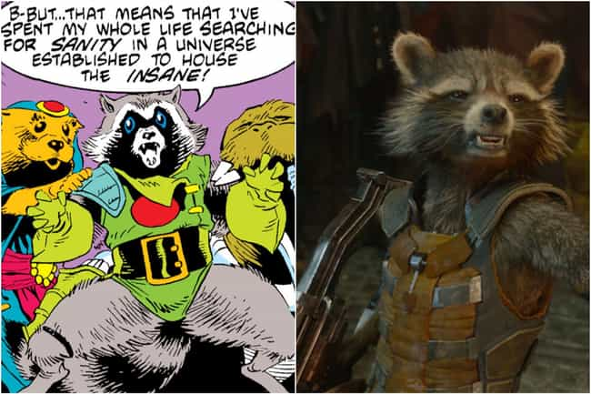 Rocket Raccoon is listed (or ranked) 3 on the list Marvel Characters Whose Comic Book Origin Stories Are Way More Upsetting Than The Movies Portrayed