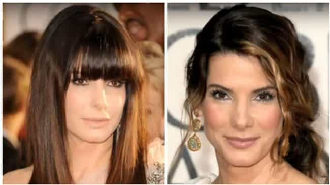 Sandra Bullock is listed (or ranked) 7 on the list Here's What 25 Celebrities Who Usually Have Bangs Look Like Without Them