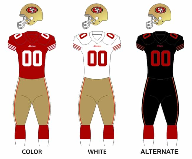 San Francisco 49ers is listed (or ranked) 4 on the list The Best Uniforms In The NFL